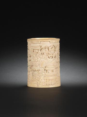 An ivory brushpot, bitong 19th century