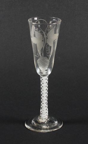 An opaque-twist ale glass Circa 1770.