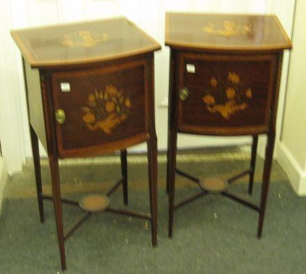 A good pair of floral inlaid and crossbanded pot cupboards,