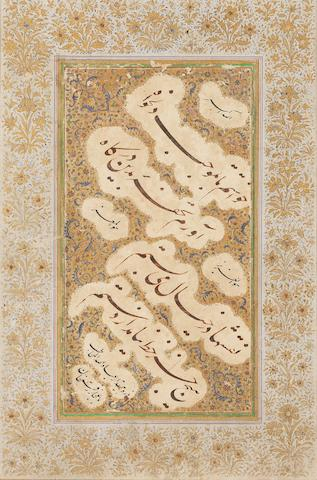 An illuminated album page of nasta'liq script signed by 'Ibadallah, better known as Ijaz Raqamkhan India, 17th/18th Century