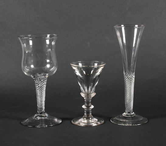 Two wine glasses and a toastmaster's glass Mid to late 18th Century.