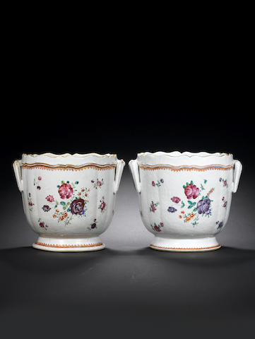 A pair of large famille rose silver-shaped circular wine coolers Qianlong