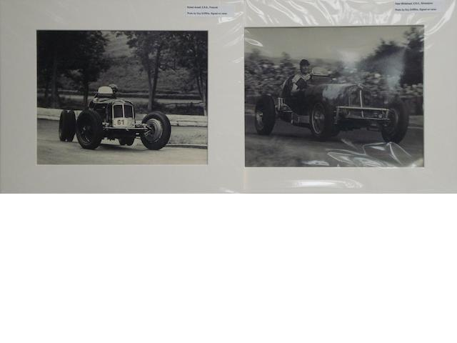 A pair of Guy Griffiths photographs depicting E.R.A. racing cars,