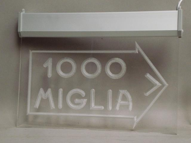 A Mille Miglia illuminated garage display sign,