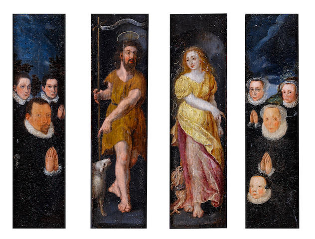 Circle of Marten de Vos (Antwerp 1532-1603) A triptych: Central panel: Saint John the Baptist and Saint Martha; Left wing: A male donor with his sons; Right wing: a female donor with her daughters each panel 32.2 x 10.2 cm. (12 11/16 x 4 in.)