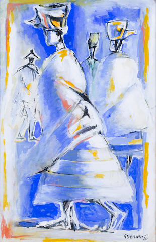 Gerard Sekoto (South African, 1913-1993) Senegalese figures 48.5 x 31.5cm (19 1/8 x 12 3/8in) (image size)