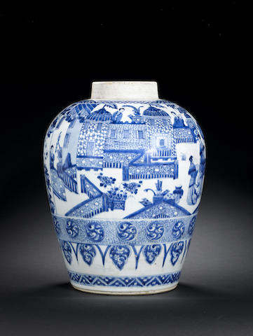 A blue and white jar with figures, Kangxi