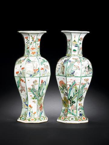 A pair of famille verte beaker vases (both restored)