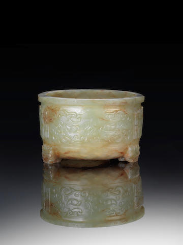 A rare yellowish-green jade archaistic tripod censer Ming Dynasty