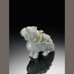 A pale green jade carving of a Qilin 18th century