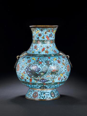A cloisonné enamel vase, hu 17th century