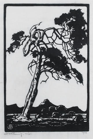 Jacob Hendrik Pierneef (South African, 1886-1957) A set of three woodblock prints: 22.5 x 39cm (8 7/8 x 15 3/8in) and smaller (image size). (3)