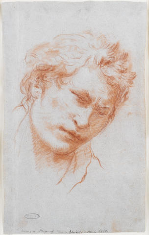 Lorenzo  Tiepolo (Venezia 1736-1776 Madrid) Head of a Young Man  334 x 204 mm