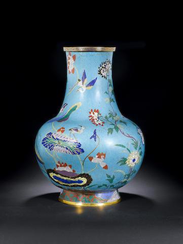 A pair of massive cloisonné enamel vases Circa 1800