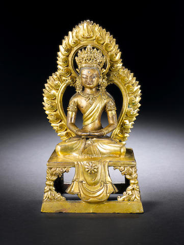 A gilt-bronze figure of Amitayus Qianlong