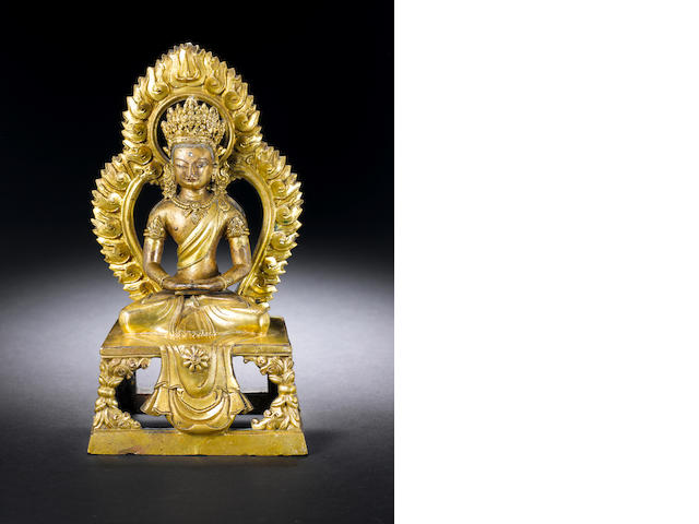 A gilt bronze figure of Amitayus Qianlong