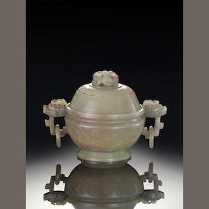 A pale green jade censer and cover 19th century