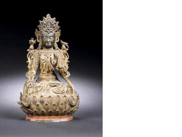 A bronze figure of Guanyin Ming Dynasty