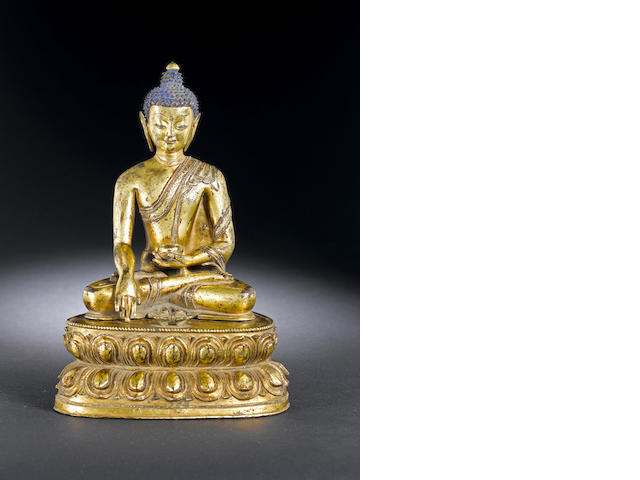 A gilt bronze figure of Sakyamuni 15/16th century