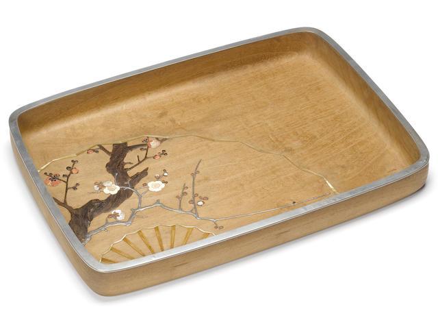 An inlaid shirokiri (white paulownia) wood hirobuta (presentation tray) By Asahi Gyokuzan (1843-1923), Meiji Period