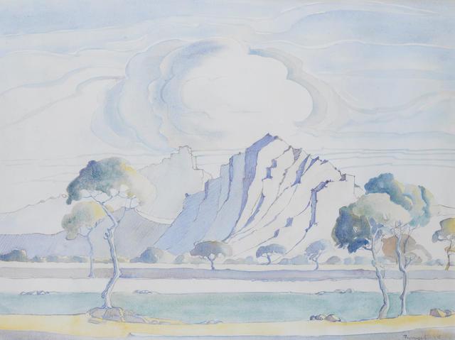 Jacob Hendrik Pierneef (South African, 1886-1957) Cubist landscape