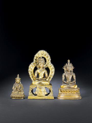 A gilt bronze figure of Amitayus Qianlong