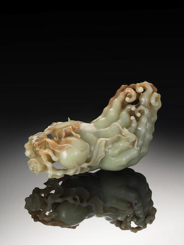 A rare yellow jade carving of a finger citron 18th century