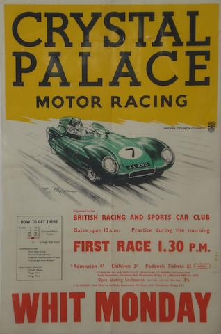 A Crystal Palace motor racing 'Whit Monday' poster, circa 1950s,