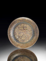 A rare gilt-decorated jade 'dragon and phoenix' saucer-dish Gilt Qianlong four-character mark and of the period