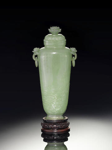 A rare pale green jade vase and cover 18th/19th century