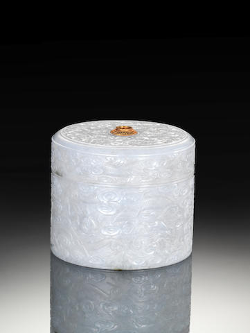 A white jadeite box and cover 19th century