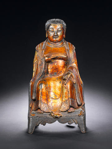 A gilt-lacquer seated bronze figure Ming Dynasty