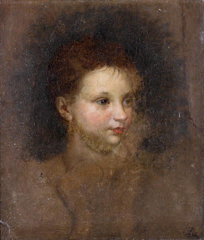 Circle of Thomas Gainsborough (Sudbury 1727-1788 London) Portrait of a young girl, bust-length, said to be  Margaret Gainsborough