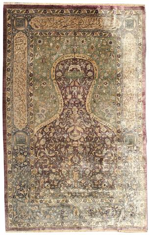 An Anatolian silk prayer rug 6 ft 3 in x 4 ft 4 in (190 x 130 cm)