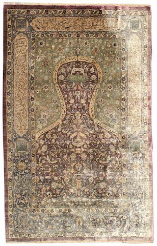 An Anatolian silk prayer rug 6 ft 3 in x 4 ft 4 in (190 x 130 cm)