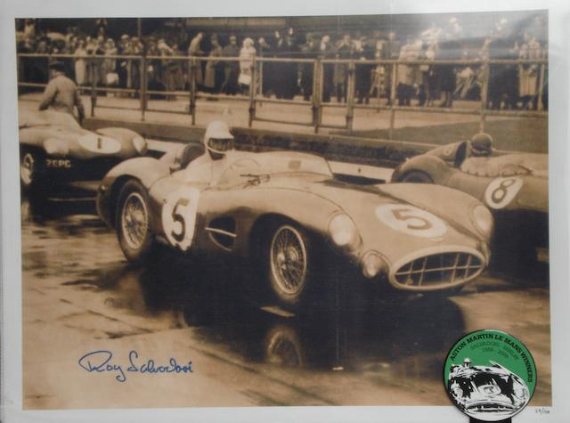 An 'Aston Martin DBR1 at Aintree 1957' signed photoprint,