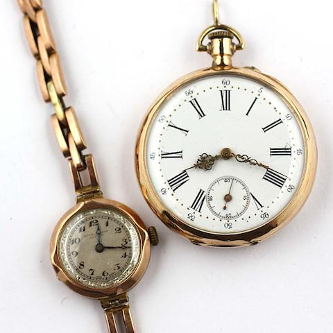 An open faced pocket watch,