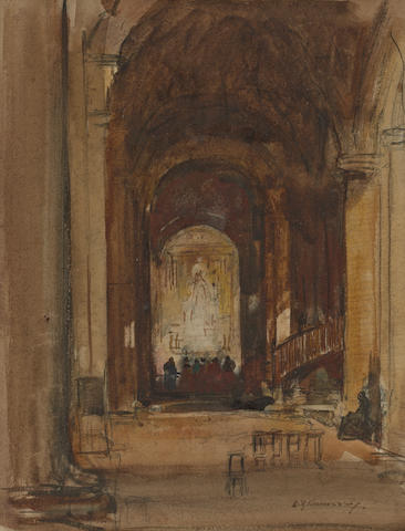 Sir David Young Cameron, RA RSA RWS RSW RE (British, 1865-1945) Church interior