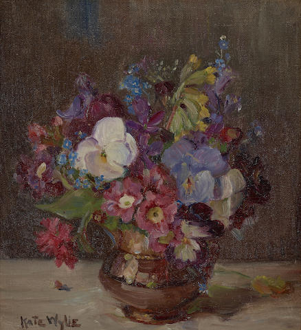 Kate Wylie (British, 1877-1941) Spring blossom in a brown lustre jug