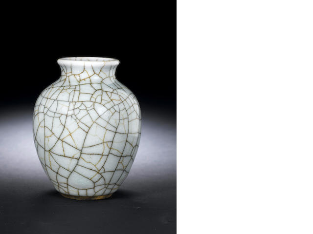 A ge-type glazed ovoid jar, 18th century