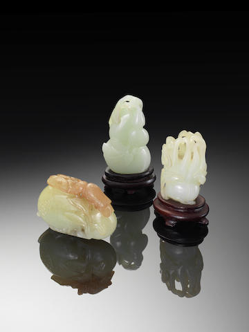 Three jade 'fruit' carvings 18th century