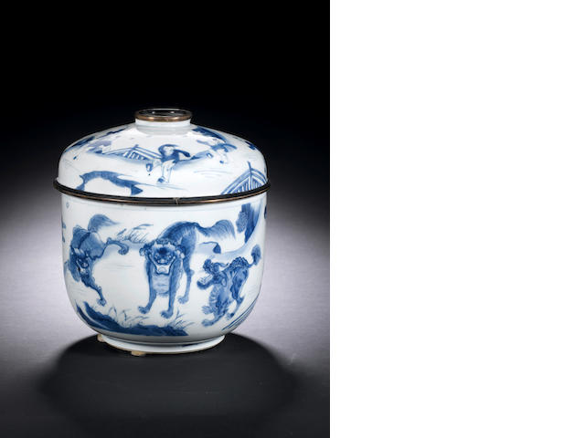 A blue and white jar and cover Kangxi
