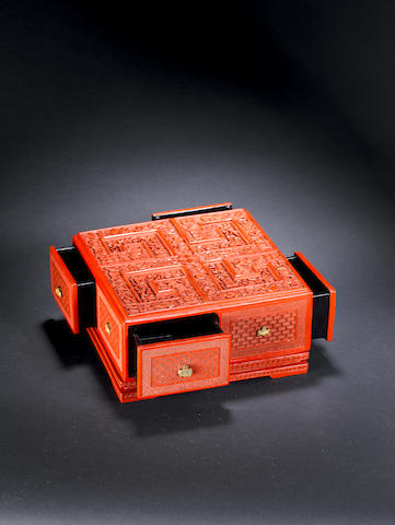 A rare Imperial cinnabar lacquer 'treasure' box and stand Qianlong