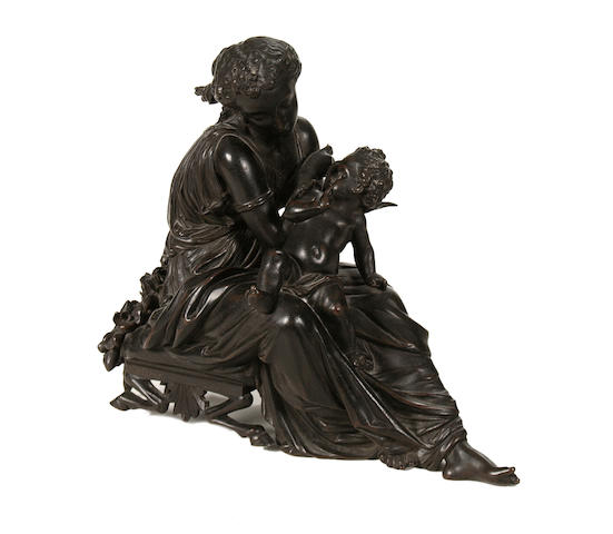 Jean Jules Salmson, French (1823-1902) A bronze model of Venus and Cupid