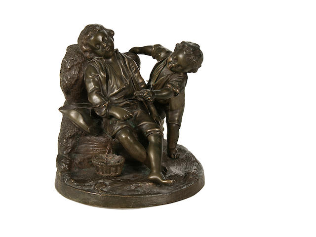 A 19th century French bronze group of two fisher boys