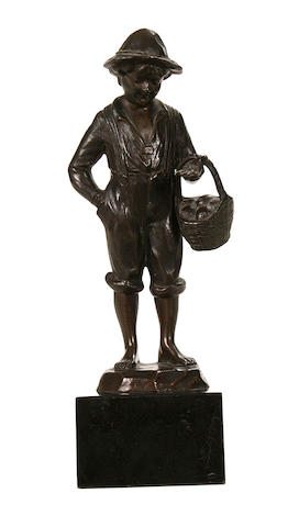 A small early 20th century Continental bronze figure of a boy