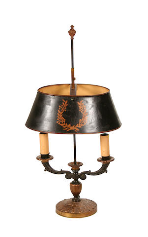 A Regency style gilt and patinated metal bouillotte lamp