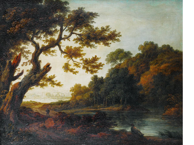 Follower of Thomas Gainsborough (Sudbury 1727-1788 London) A travellers and a figure resting on a shore in a wooden landscape