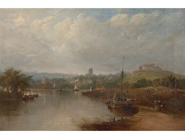 Henry G. Duguid (British, 19th C) The landing place Stirling with the Ochil Hills in the background