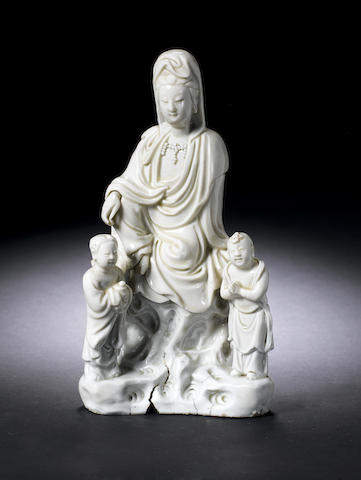 A blanc-de-chine model of Guanyin and acolytes 17th/early 18th century